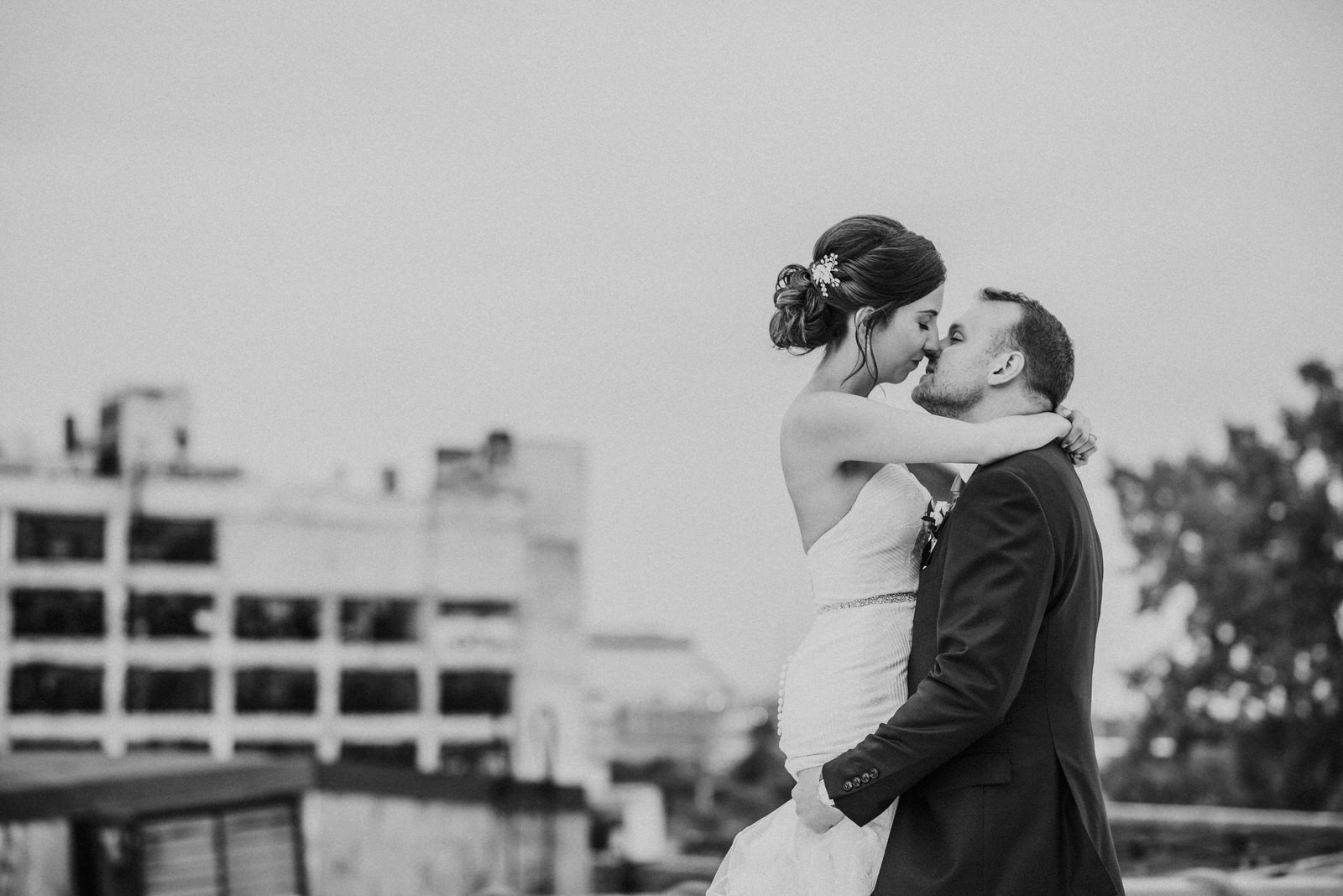 Rooftop wedding photo at Detroit's Piquette plant